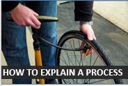 How to explain changing a bicycle tyre in English