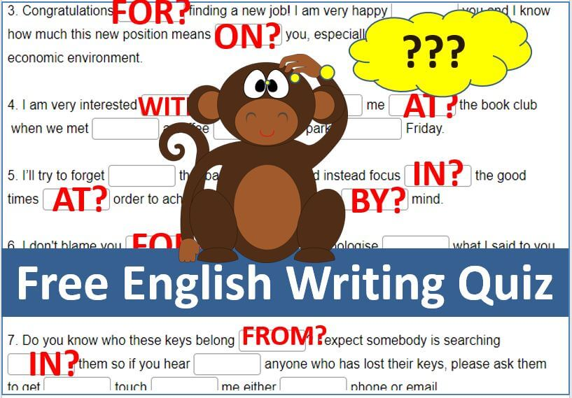 Free  DailyStep English Preposition Writing Quiz