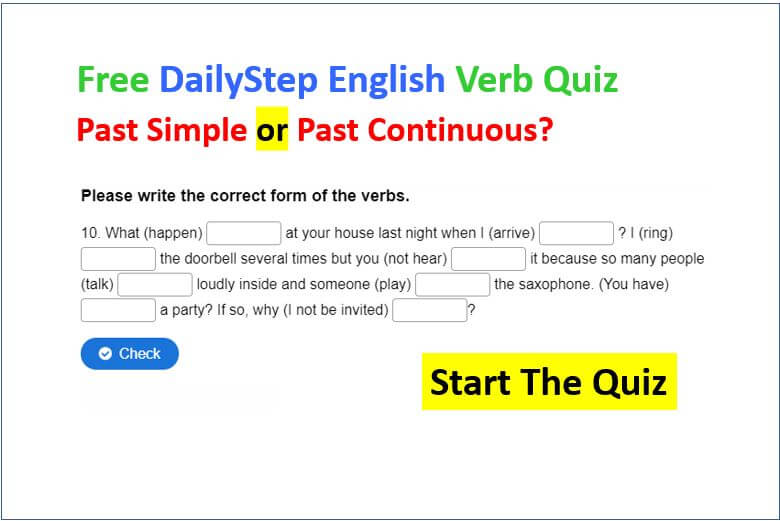 Past Simple or Past Continuous - Free English verb Quiz and Lesson